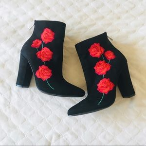 Cape Robbin Floral Embroidered Ankle Boots